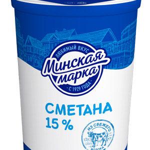 """Сметана """"Минская марка"""" 15% 380 г"""