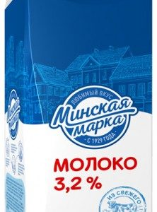 """Молоко пастеризованное """"Минская марка"""" 3,2% 2 литра"""
