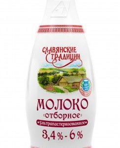 """Молоко отборное ультрапастеризованное """"Славянские традиции"""" 3,4-6% 0,9 л"""